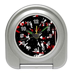 Black, Red And White Chaos Travel Alarm Clocks