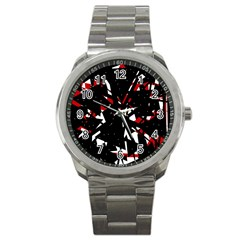Black, Red And White Chaos Sport Metal Watch by Valentinaart