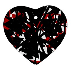 Black, Red And White Chaos Heart Ornament (2 Sides) by Valentinaart