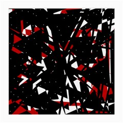Black, Red And White Chaos Medium Glasses Cloth by Valentinaart
