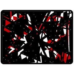 Black, Red And White Chaos Fleece Blanket (large)  by Valentinaart