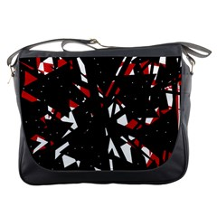 Black, Red And White Chaos Messenger Bags by Valentinaart