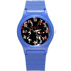 Black, Red And White Chaos Round Plastic Sport Watch (s) by Valentinaart