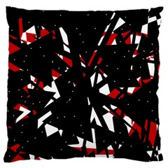 Black, Red And White Chaos Large Cushion Case (two Sides) by Valentinaart