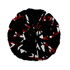 Black, Red And White Chaos Standard 15  Premium Round Cushions by Valentinaart