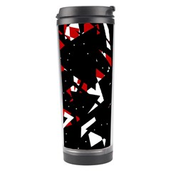 Black, Red And White Chaos Travel Tumbler by Valentinaart
