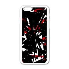 Black, Red And White Chaos Apple Iphone 6/6s White Enamel Case