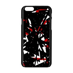 Black, Red And White Chaos Apple Iphone 6/6s Black Enamel Case by Valentinaart