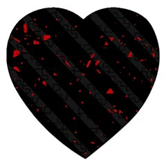 Black And Red Jigsaw Puzzle (heart) by Valentinaart