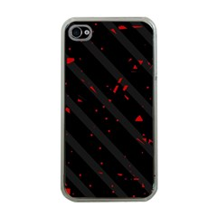 Black And Red Apple Iphone 4 Case (clear) by Valentinaart