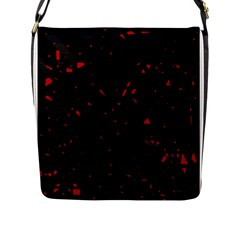 Black And Red Flap Messenger Bag (l)  by Valentinaart