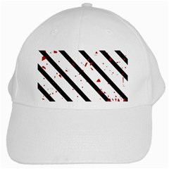 Elegant Black, Red And White Lines White Cap by Valentinaart