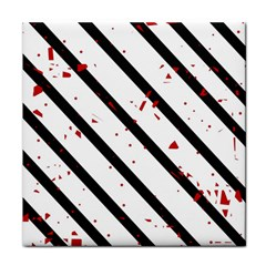 Elegant Black, Red And White Lines Tile Coasters by Valentinaart