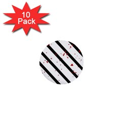 Elegant Black, Red And White Lines 1  Mini Buttons (10 Pack)  by Valentinaart