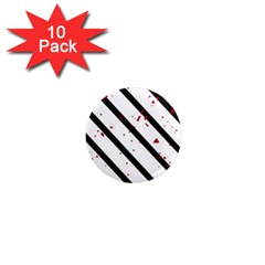 Elegant Black, Red And White Lines 1  Mini Magnet (10 Pack)  by Valentinaart