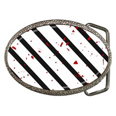 Elegant Black, Red And White Lines Belt Buckles by Valentinaart