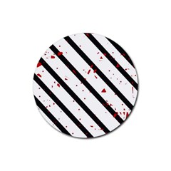 Elegant Black, Red And White Lines Rubber Round Coaster (4 Pack)  by Valentinaart