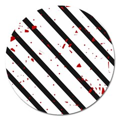 Elegant Black, Red And White Lines Magnet 5  (round) by Valentinaart
