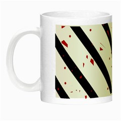 Elegant Black, Red And White Lines Night Luminous Mugs by Valentinaart