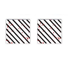 Elegant Black, Red And White Lines Cufflinks (square) by Valentinaart