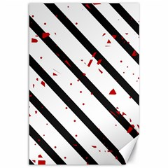 Elegant Black, Red And White Lines Canvas 12  X 18   by Valentinaart
