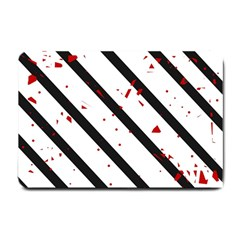 Elegant Black, Red And White Lines Small Doormat  by Valentinaart
