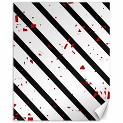 Elegant Black, Red And White Lines Canvas 11  X 14   by Valentinaart