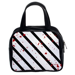 Elegant Black, Red And White Lines Classic Handbags (2 Sides) by Valentinaart