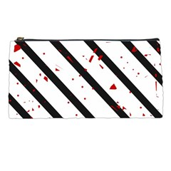 Elegant Black, Red And White Lines Pencil Cases by Valentinaart