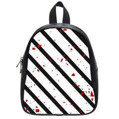 Elegant Black, Red And White Lines School Bags (small)