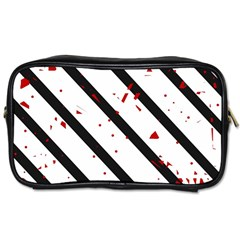 Elegant Black, Red And White Lines Toiletries Bags 2 Side by Valentinaart
