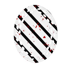 Elegant Black, Red And White Lines Ornament (oval Filigree)  by Valentinaart