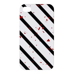 Elegant Black, Red And White Lines Apple Iphone 4/4s Premium Hardshell Case by Valentinaart