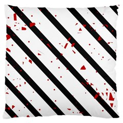 Elegant Black, Red And White Lines Large Cushion Case (one Side) by Valentinaart