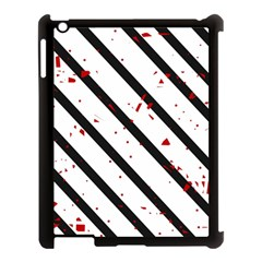 Elegant Black, Red And White Lines Apple Ipad 3/4 Case (black) by Valentinaart