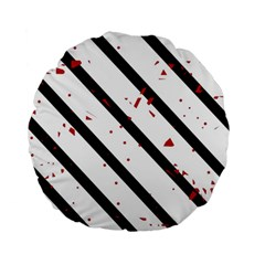 Elegant Black, Red And White Lines Standard 15  Premium Round Cushions by Valentinaart
