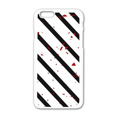 Elegant Black, Red And White Lines Apple Iphone 6/6s White Enamel Case by Valentinaart