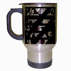 Gray Abstract Design Travel Mug (silver Gray) by Valentinaart