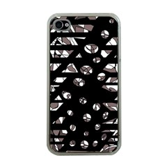 Gray Abstract Design Apple Iphone 4 Case (clear) by Valentinaart