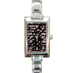 Red Freedam Rectangle Italian Charm Watch by Valentinaart