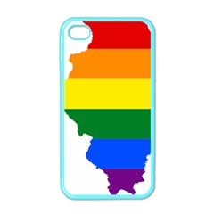 Lgbt Flag Map Of Illinois Apple Iphone 4 Case (color) by abbeyz71