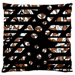 Brown Freedom  Large Cushion Case (two Sides) by Valentinaart