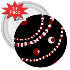 Red Pearls 3  Buttons (10 Pack)  by Valentinaart