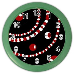 Red Pearls Color Wall Clocks by Valentinaart