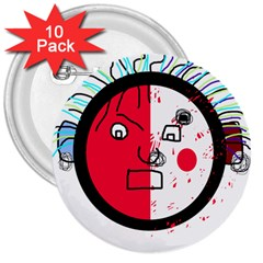 Angry Transparent Face 3  Buttons (10 Pack)  by Valentinaart