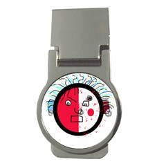 Angry Transparent Face Money Clips (round)  by Valentinaart