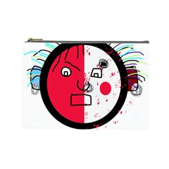 Angry Transparent Face Cosmetic Bag (large)  by Valentinaart