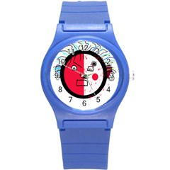 Angry Transparent Face Round Plastic Sport Watch (s) by Valentinaart