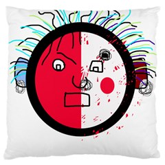 Angry Transparent Face Large Cushion Case (two Sides) by Valentinaart