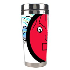 Angry Transparent Face Stainless Steel Travel Tumblers by Valentinaart